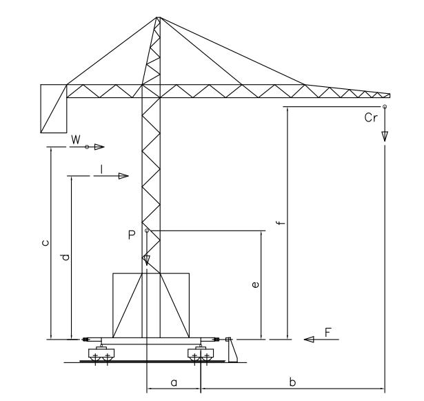 Tower crane at maximum load